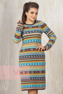 Платье женское 2256 Фемина (Темный джинс/апельсин/оливка/яркая бирюза/светло-серый меланж)